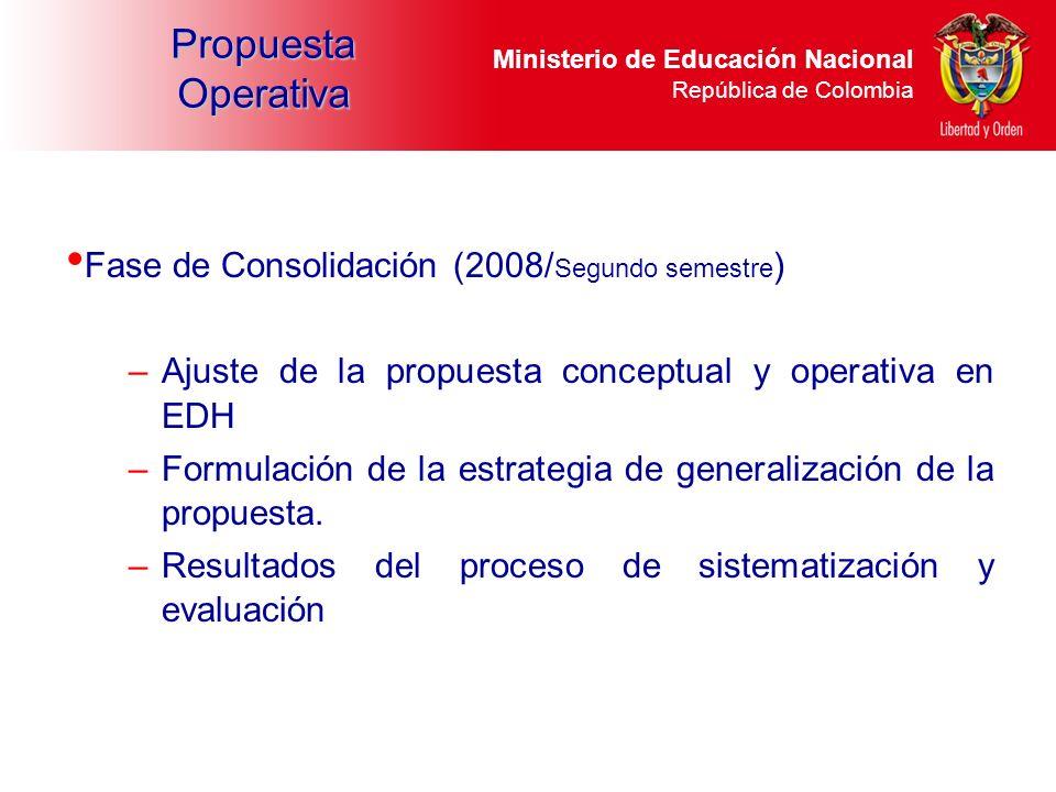 Ministerio de Educación Nacional República de Colombia Fase de Consolidación (2008/ Segundo semestre ) –Ajuste de la propuesta conceptual y operativa
