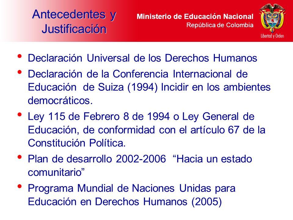 Ministerio de Educación Nacional República de Colombia Antecedentes y Justificación Declaración Universal de los Derechos Humanos Declaración de la Co