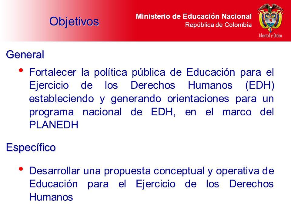 Ministerio de Educación Nacional República de Colombia Fortalecer la política pública de Educación para el Ejercicio de los Derechos Humanos (EDH) est