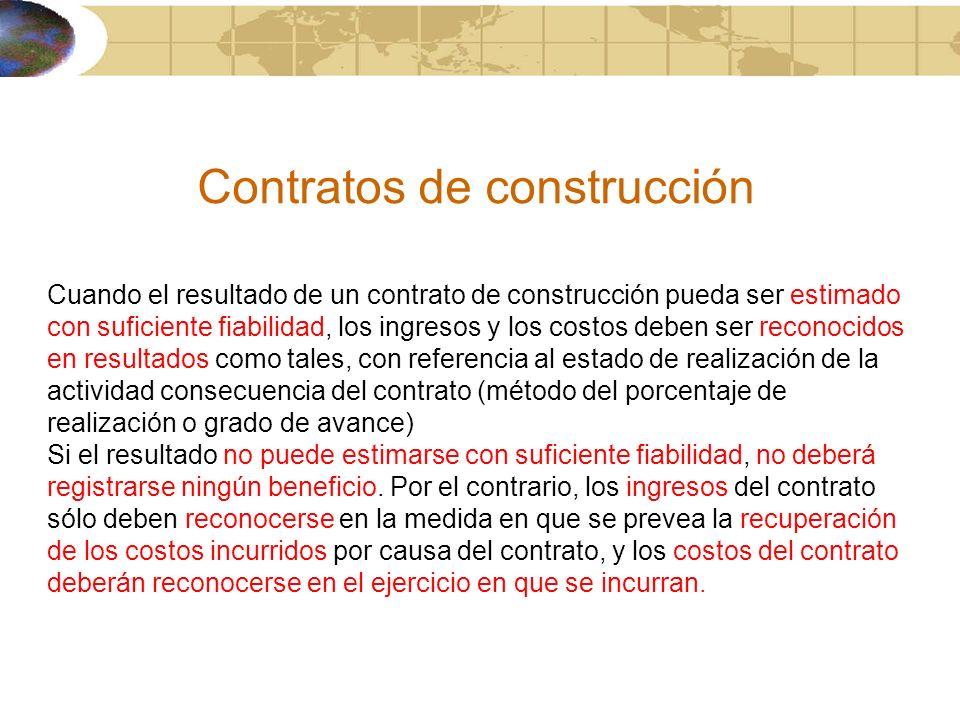 Contratos de construcción Cuando el resultado de un contrato de construcción pueda ser estimado con suficiente fiabilidad, los ingresos y los costos d