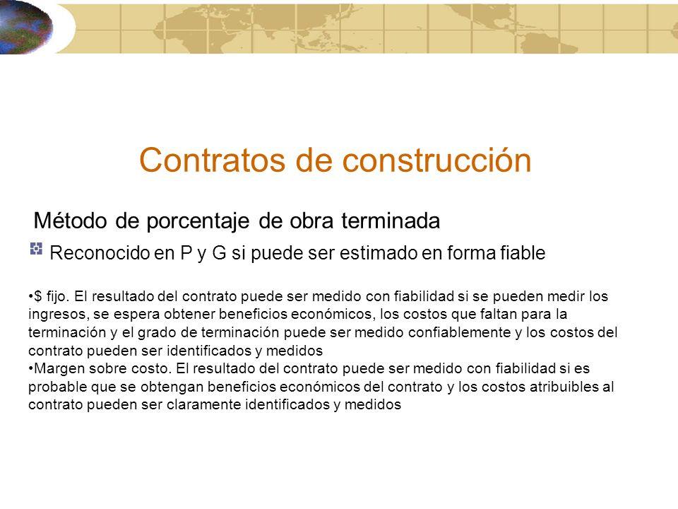 Contratos de construcción Método de porcentaje de obra terminada Reconocido en P y G si puede ser estimado en forma fiable $ fijo. El resultado del co