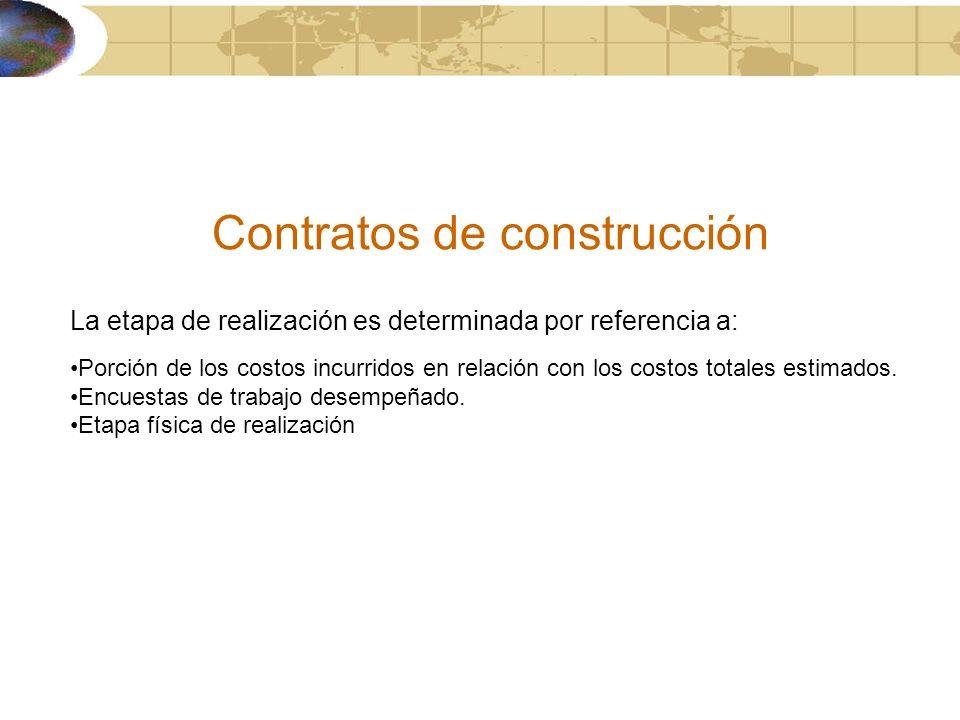 Contratos de construcción La etapa de realización es determinada por referencia a: Porción de los costos incurridos en relación con los costos totales