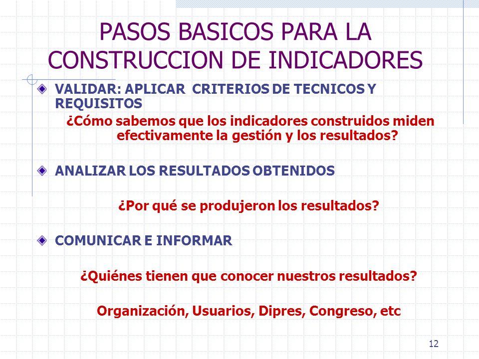 12 PASOS BASICOS PARA LA CONSTRUCCION DE INDICADORES VALIDAR: APLICAR CRITERIOS DE TECNICOS Y REQUISITOS ¿Cómo sabemos que los indicadores construidos miden efectivamente la gestión y los resultados.