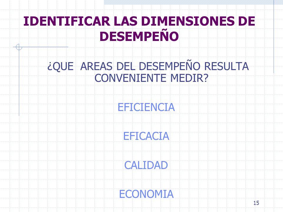 15 IDENTIFICAR LAS DIMENSIONES DE DESEMPEÑO ¿QUE AREAS DEL DESEMPEÑO RESULTA CONVENIENTE MEDIR.