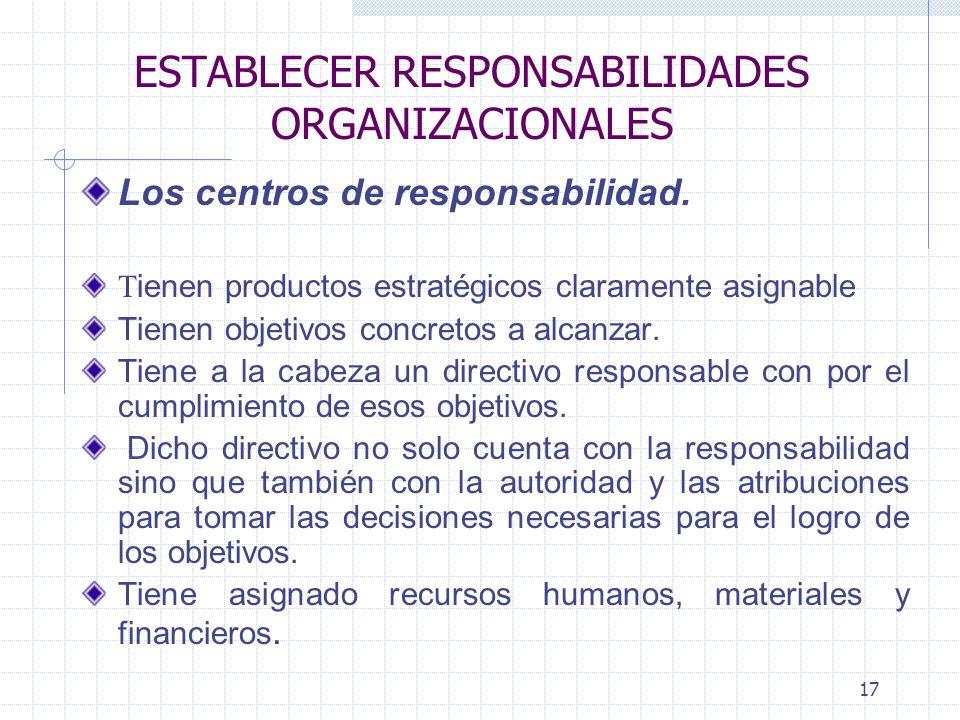 17 ESTABLECER RESPONSABILIDADES ORGANIZACIONALES Los centros de responsabilidad.