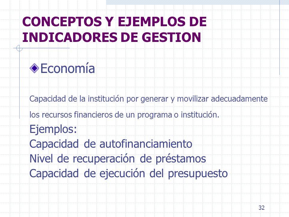 32 CONCEPTOS Y EJEMPLOS DE INDICADORES DE GESTION Economía Capacidad de la institución por generar y movilizar adecuadamente los recursos financieros de un programa o institución.