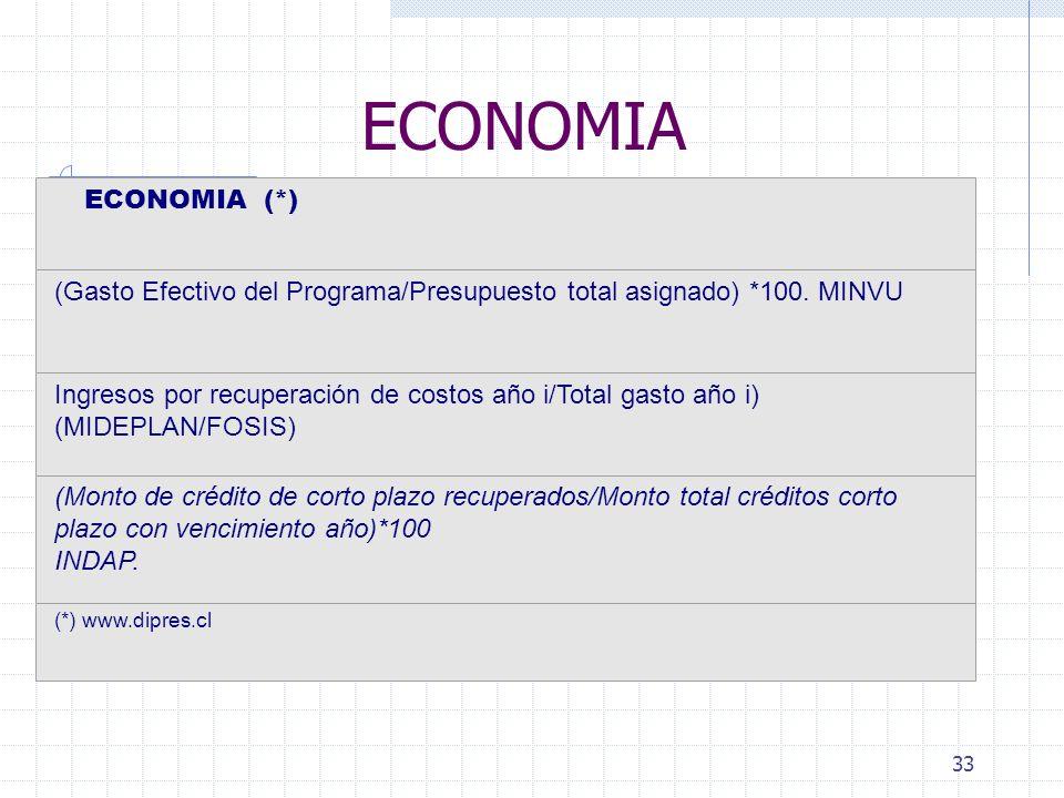 33 ECONOMIA ECONOMIA (*) (Gasto Efectivo del Programa/Presupuesto total asignado) *100.