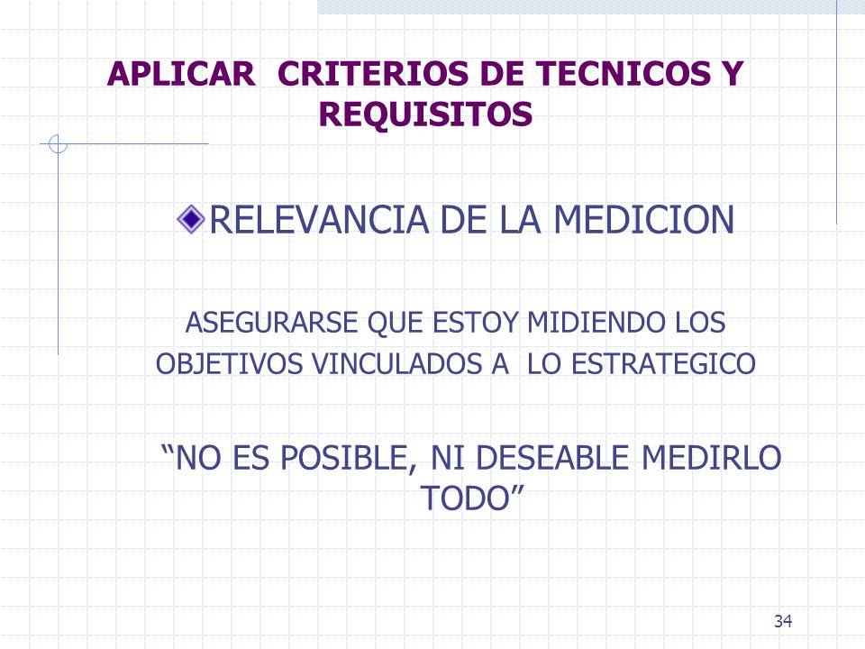 34 APLICAR CRITERIOS DE TECNICOS Y REQUISITOS RELEVANCIA DE LA MEDICION ASEGURARSE QUE ESTOY MIDIENDO LOS OBJETIVOS VINCULADOS A LO ESTRATEGICO NO ES POSIBLE, NI DESEABLE MEDIRLO TODO