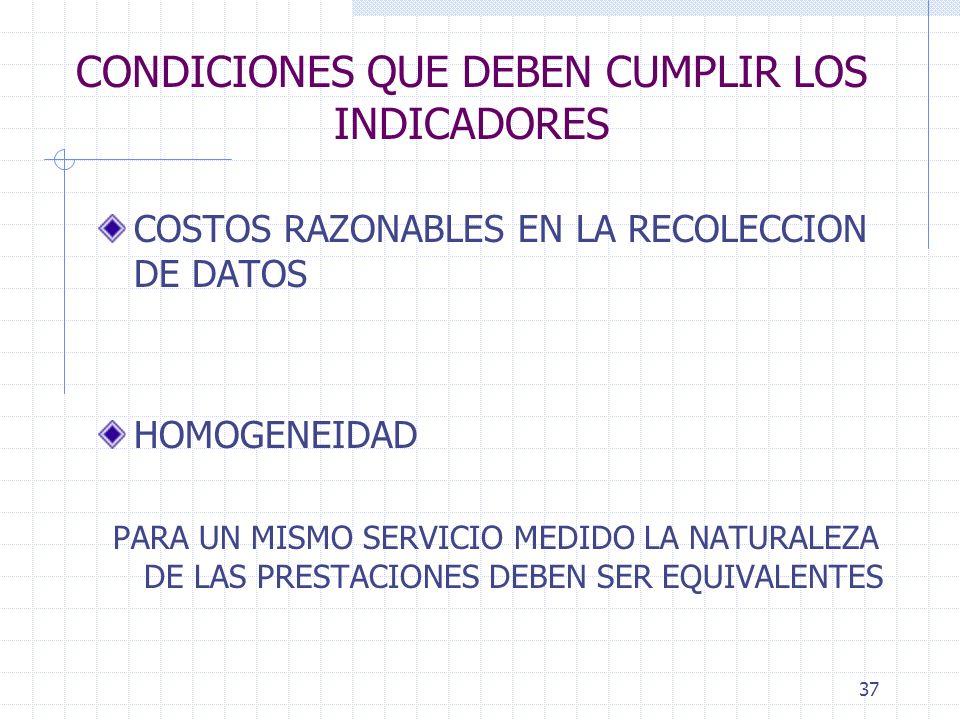 37 CONDICIONES QUE DEBEN CUMPLIR LOS INDICADORES COSTOS RAZONABLES EN LA RECOLECCION DE DATOS HOMOGENEIDAD PARA UN MISMO SERVICIO MEDIDO LA NATURALEZA DE LAS PRESTACIONES DEBEN SER EQUIVALENTES