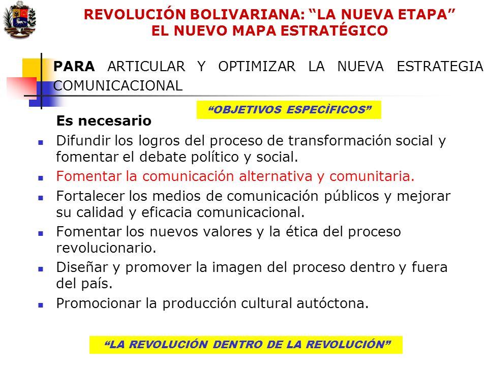 LA REVOLUCIÓN DENTRO DE LA REVOLUCIÓN PARA ARTICULAR Y OPTIMIZAR LA NUEVA ESTRATEGIA COMUNICACIONAL Es necesario Difundir los logros del proceso de tr