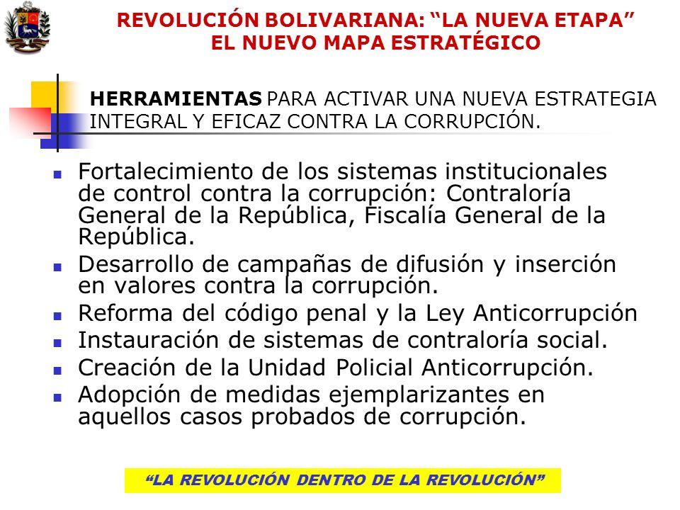 LA REVOLUCIÓN DENTRO DE LA REVOLUCIÓN HERRAMIENTAS PARA ACTIVAR UNA NUEVA ESTRATEGIA INTEGRAL Y EFICAZ CONTRA LA CORRUPCIÓN. Fortalecimiento de los si