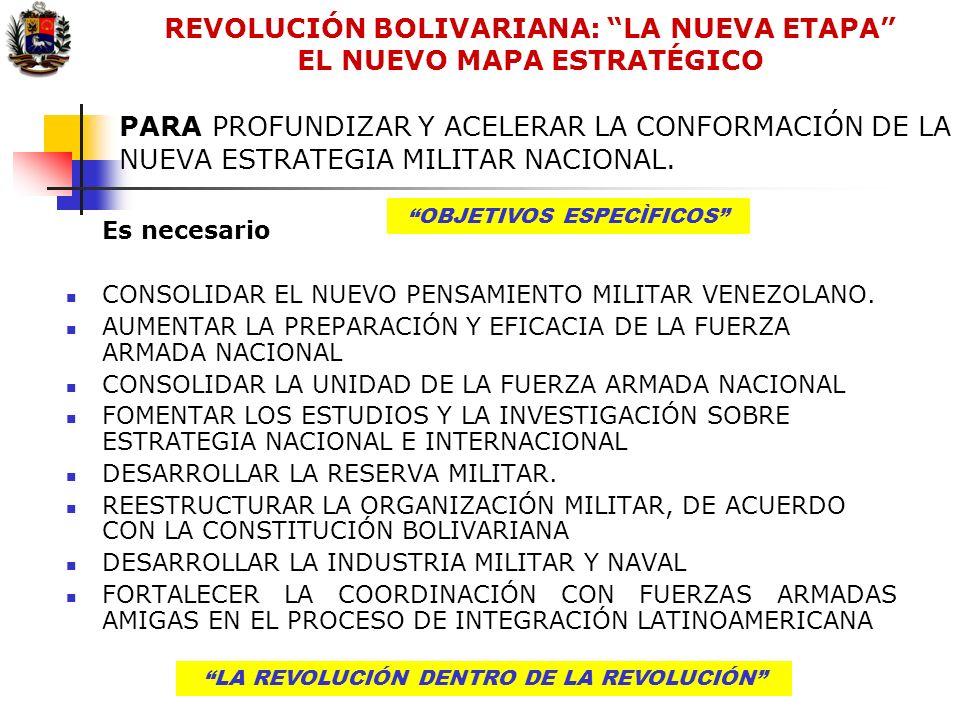 LA REVOLUCIÓN DENTRO DE LA REVOLUCIÓN PARA PROFUNDIZAR Y ACELERAR LA CONFORMACIÓN DE LA NUEVA ESTRATEGIA MILITAR NACIONAL. LA REVOLUCIÓN DENTRO DE LA