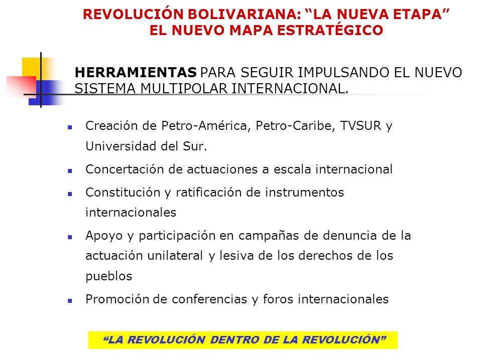 LA REVOLUCIÓN DENTRO DE LA REVOLUCIÓN HERRAMIENTAS PARA SEGUIR IMPULSANDO EL NUEVO SISTEMA MULTIPOLAR INTERNACIONAL. Creación de Petro-América, Petro-