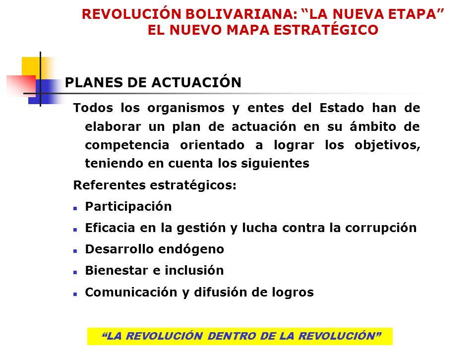 LA REVOLUCIÓN DENTRO DE LA REVOLUCIÓN PLANES DE ACTUACIÓN Todos los organismos y entes del Estado han de elaborar un plan de actuación en su ámbito de