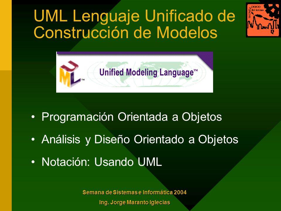 UML Lenguaje Unificado de Construcción de Modelos Programación Orientada a Objetos Análisis y Diseño Orientado a Objetos Notación: Usando UML Semana d