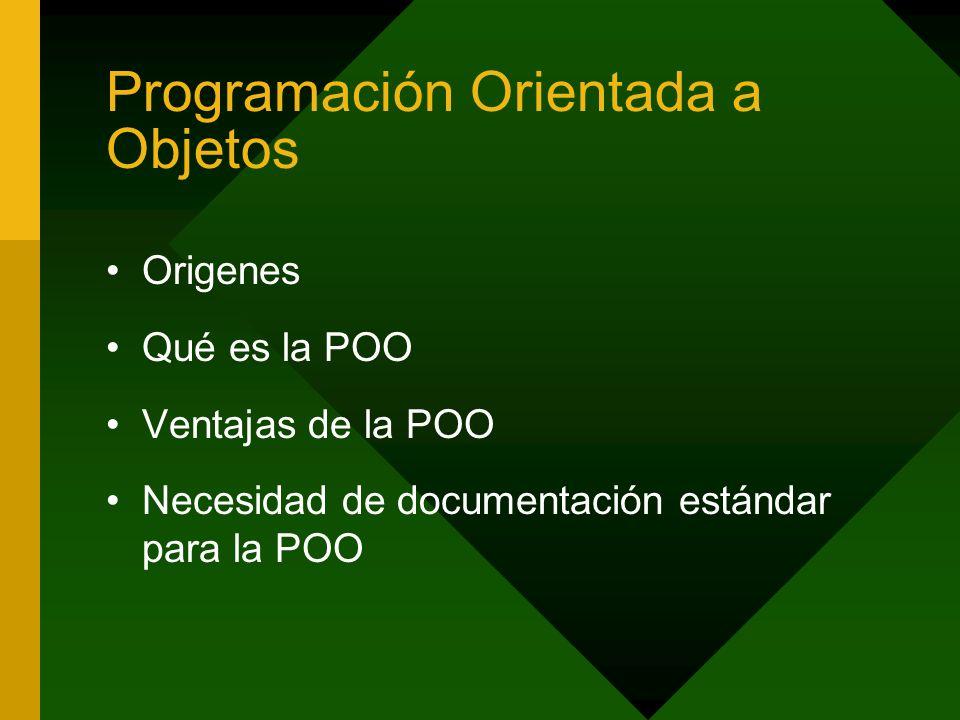Programación Orientada a Objetos Origenes Qué es la POO Ventajas de la POO Necesidad de documentación estándar para la POO