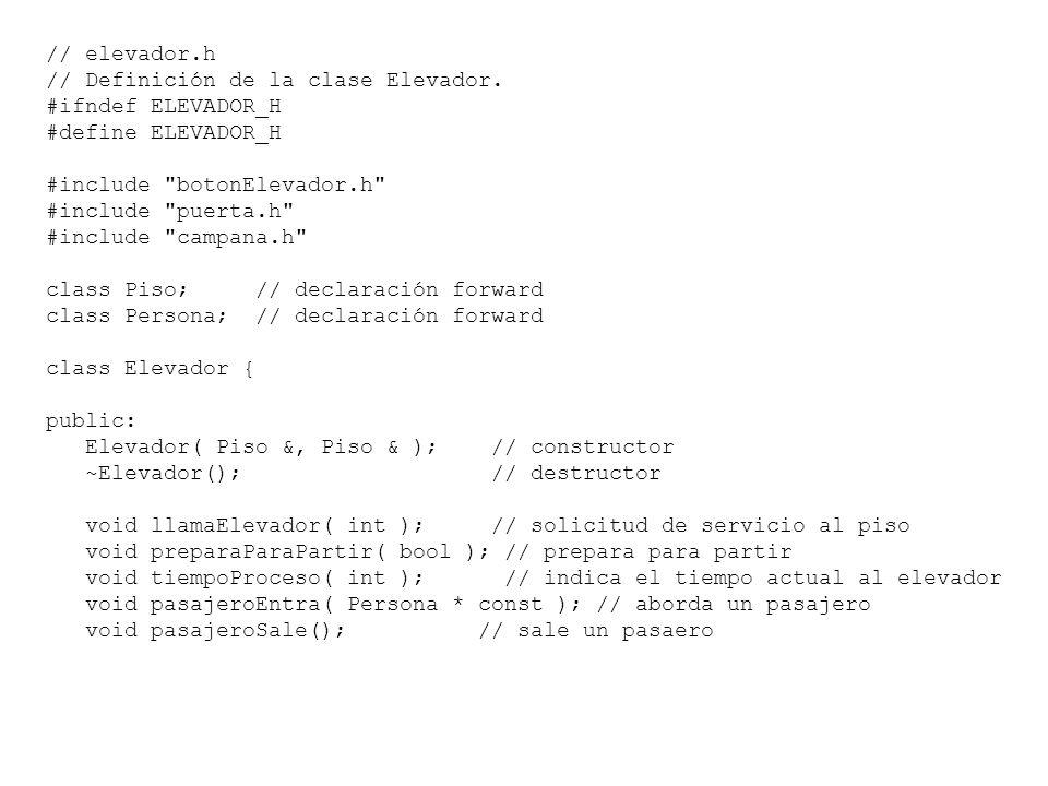 // Fig. 7.41: elevador.h // Definición de la clase Elevador. #ifndef ELEVADOR_H #define ELEVADOR_H #include