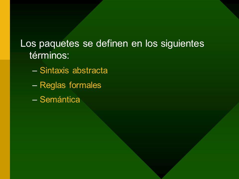 Los paquetes se definen en los siguientes términos: –Sintaxis abstracta –Reglas formales –Semántica