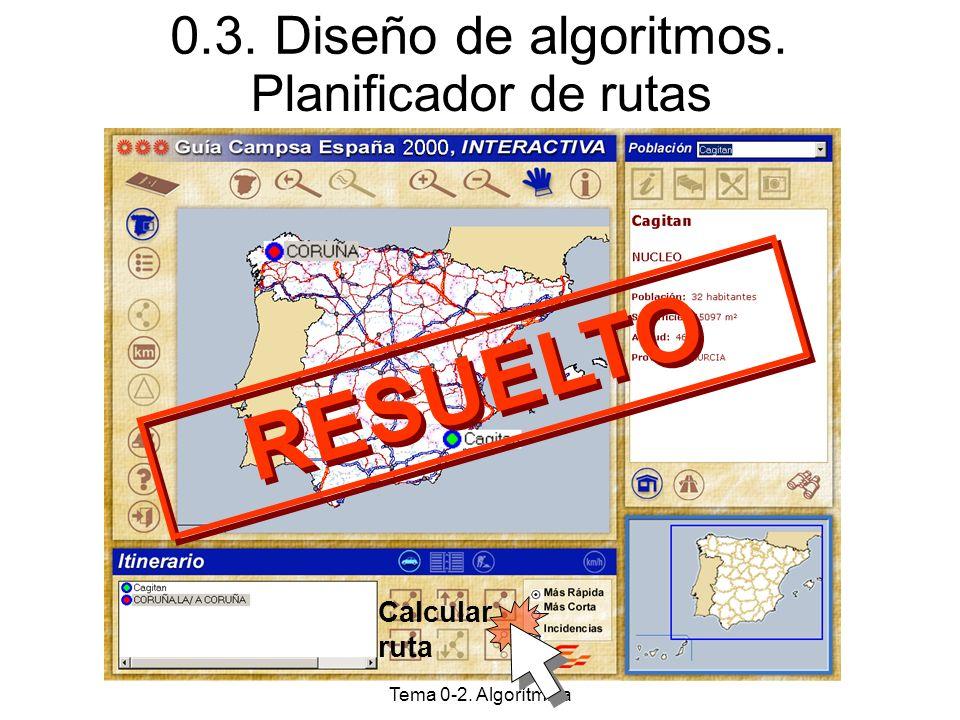 A.E.D. Tema 0-2. Algorítmica Planificador de rutas Calcular ruta 0.3. Diseño de algoritmos. RESUELTO