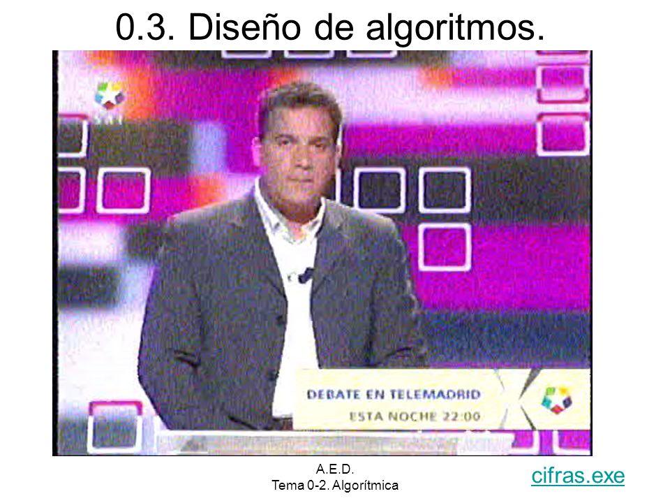 A.E.D. Tema 0-2. Algorítmica 0.3. Diseño de algoritmos. cifras.exe