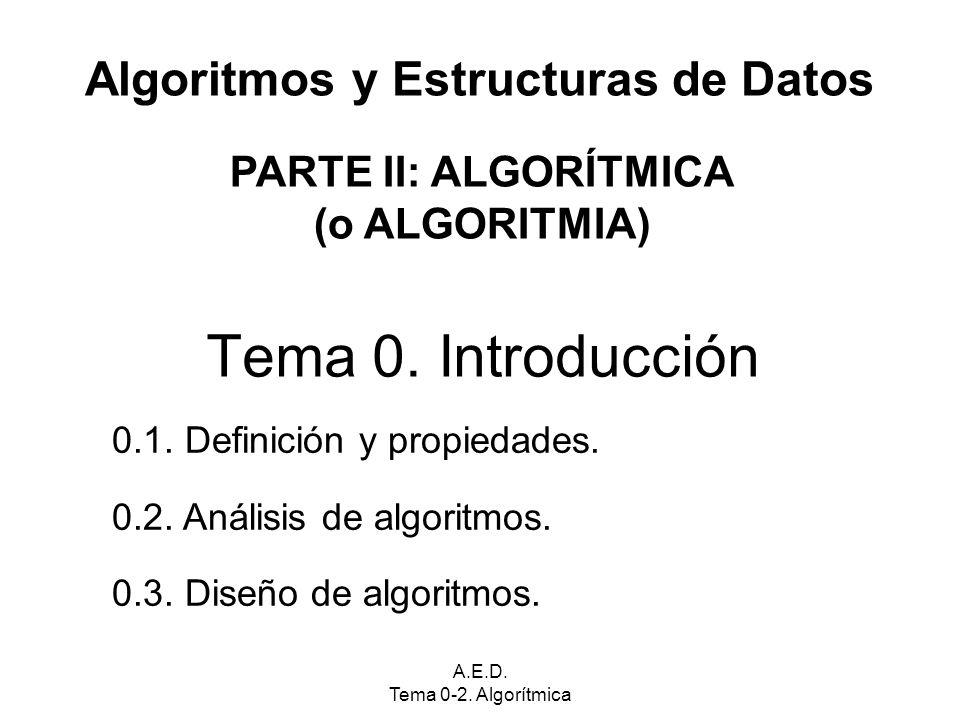 A.E.D. Tema 0-2. Algorítmica Algoritmos y Estructuras de Datos Tema 0.