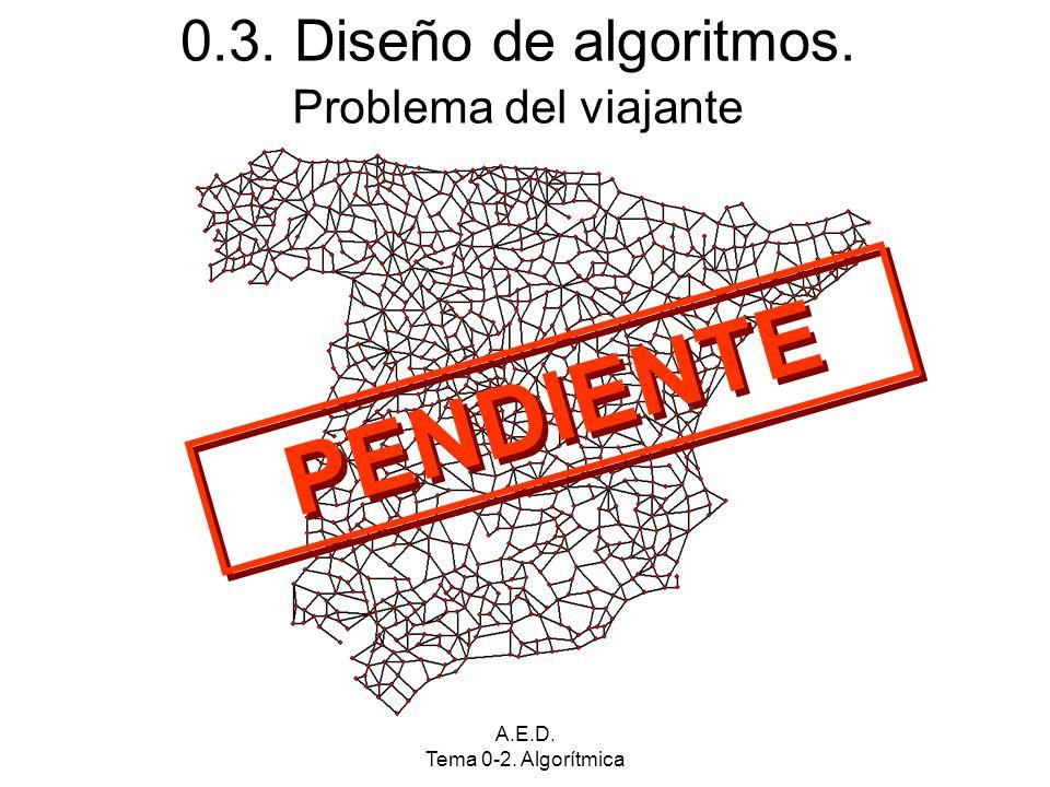 A.E.D. Tema 0-2. Algorítmica 0.3. Diseño de algoritmos. PENDIENTE Problema del viajante