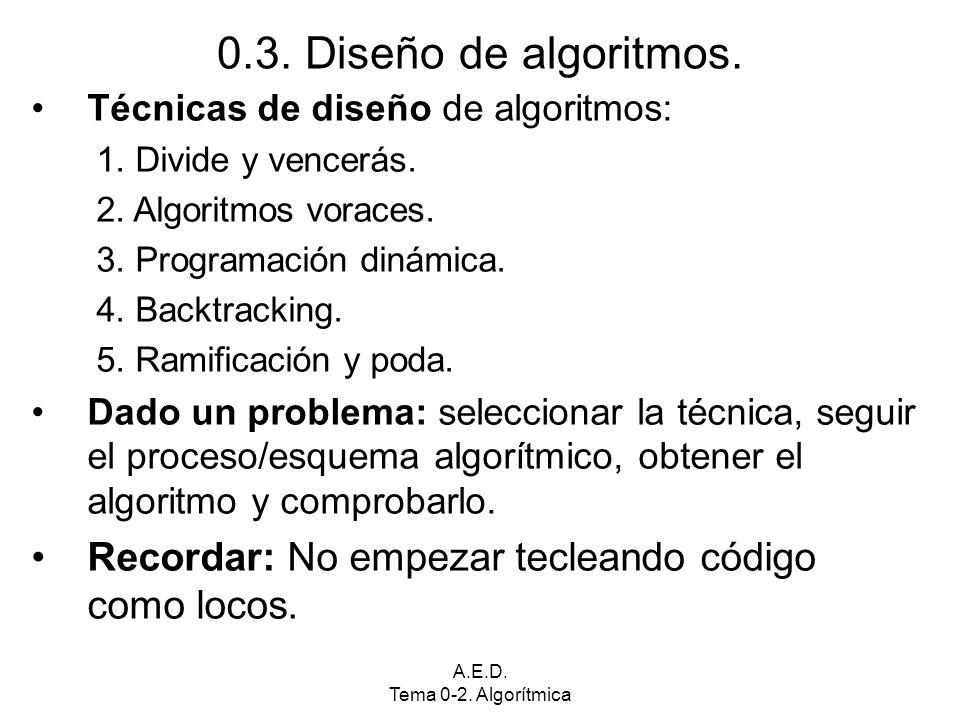 A.E.D. Tema 0-2. Algorítmica 0.3. Diseño de algoritmos. Técnicas de diseño de algoritmos: 1. Divide y vencerás. 2. Algoritmos voraces. 3. Programación