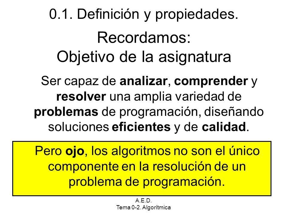 A.E.D. Tema 0-2. Algorítmica Recordamos: Objetivo de la asignatura Ser capaz de analizar, comprender y resolver una amplia variedad de problemas de pr