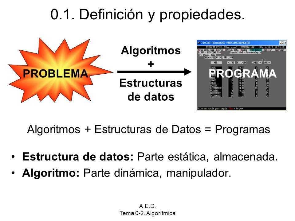 A.E.D. Tema 0-2. Algorítmica Algoritmos + Estructuras de Datos = Programas Estructura de datos: Parte estática, almacenada. Algoritmo: Parte dinámica,