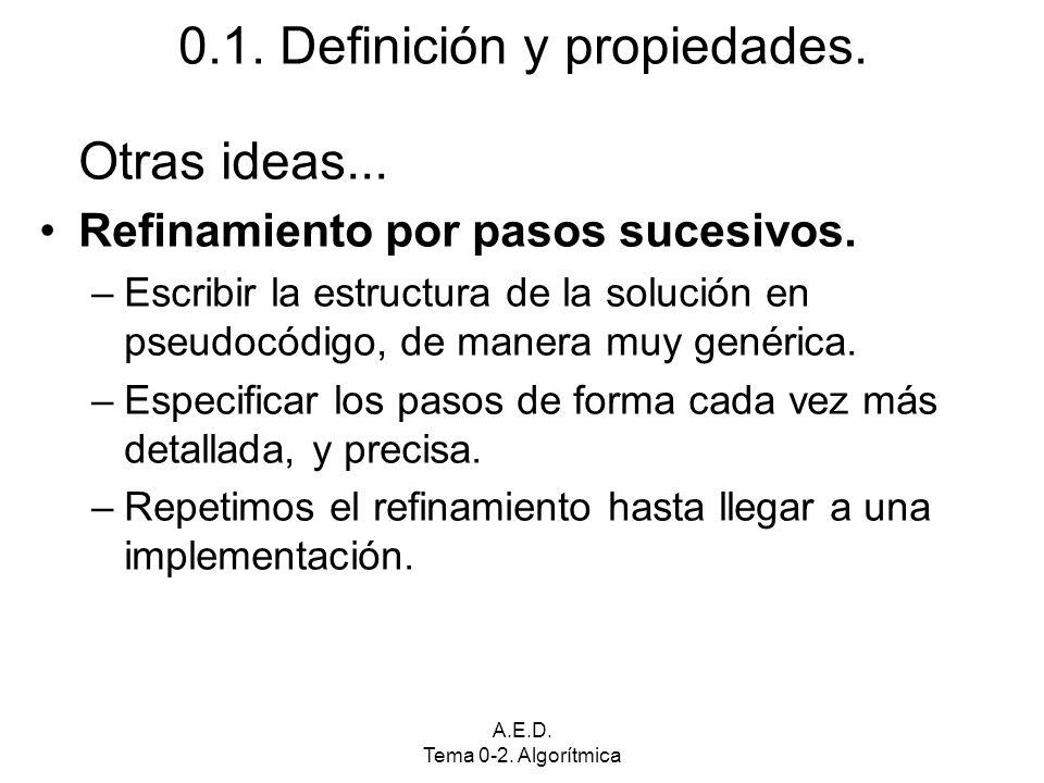 A.E.D. Tema 0-2. Algorítmica 0.1. Definición y propiedades. Otras ideas... Refinamiento por pasos sucesivos. –Escribir la estructura de la solución en