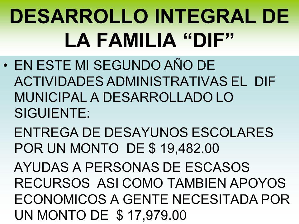DESARROLLO INTEGRAL DE LA FAMILIA DIF EN ESTE MI SEGUNDO AÑO DE ACTIVIDADES ADMINISTRATIVAS EL DIF MUNICIPAL A DESARROLLADO LO SIGUIENTE: ENTREGA DE D