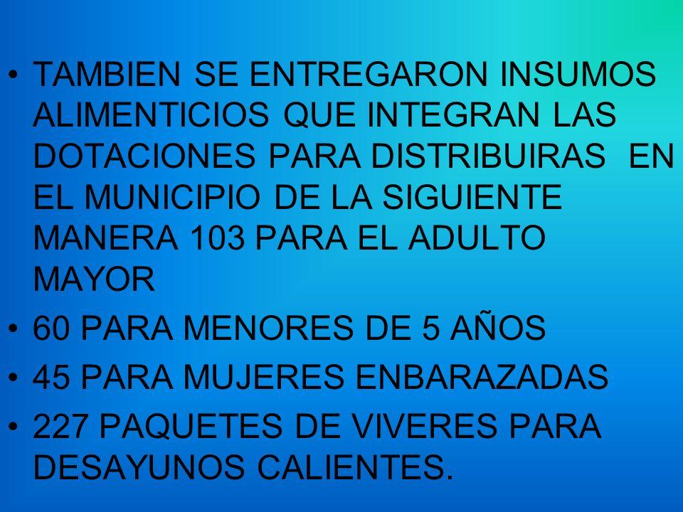 TAMBIEN SE ENTREGARON INSUMOS ALIMENTICIOS QUE INTEGRAN LAS DOTACIONES PARA DISTRIBUIRAS EN EL MUNICIPIO DE LA SIGUIENTE MANERA 103 PARA EL ADULTO MAY
