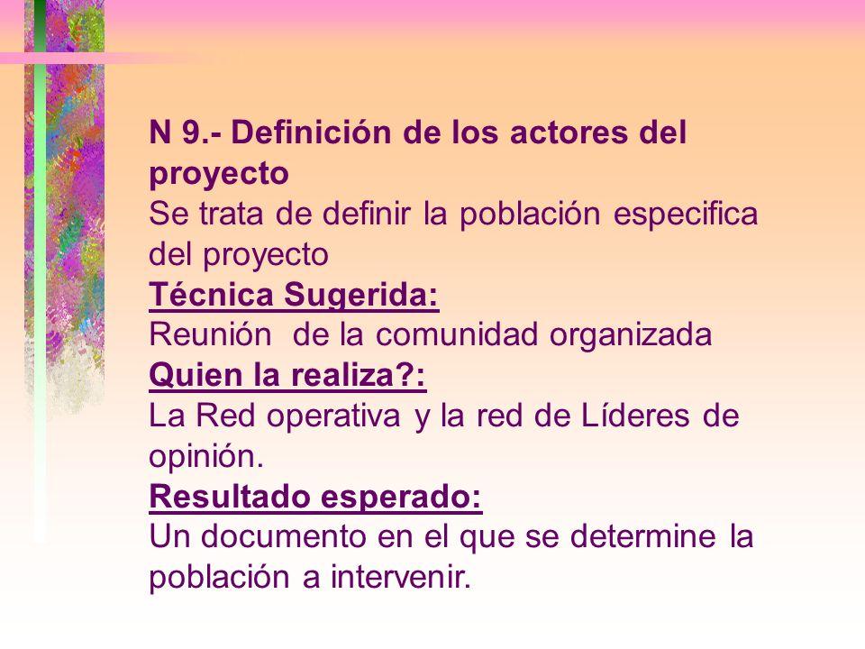 N 9.- Definición de los actores del proyecto Se trata de definir la población especifica del proyecto Técnica Sugerida: Reunión de la comunidad organi