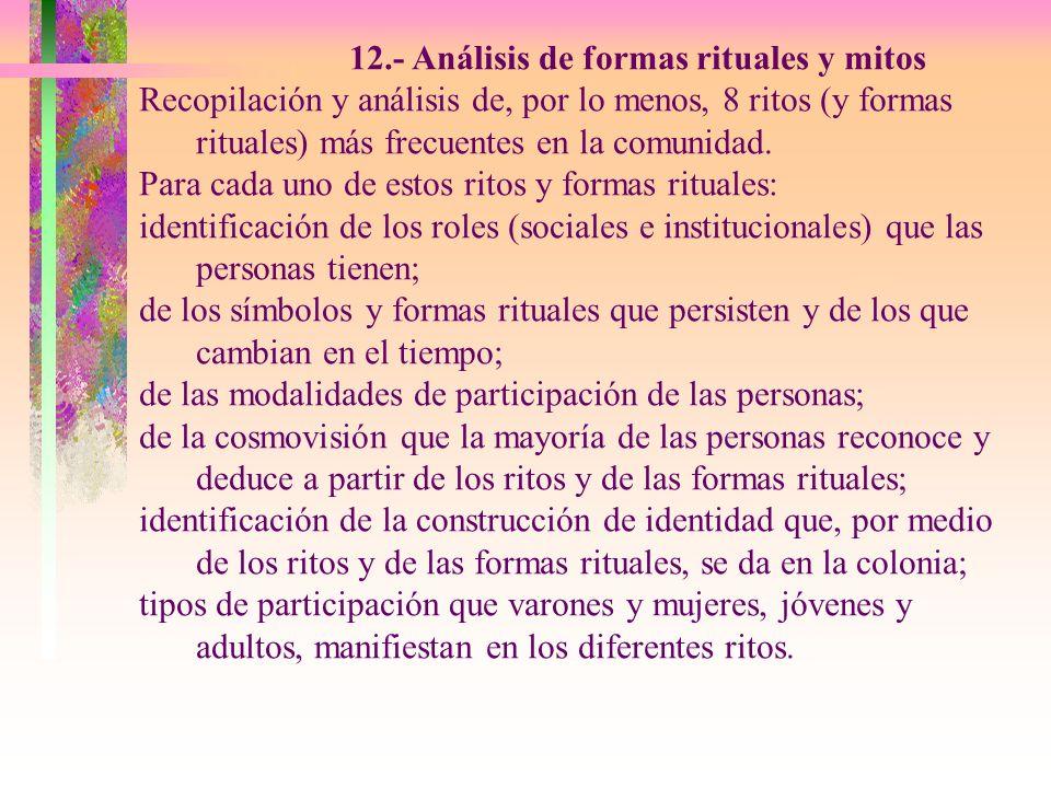 12.- Análisis de formas rituales y mitos Recopilación y análisis de, por lo menos, 8 ritos (y formas rituales) más frecuentes en la comunidad. Para ca
