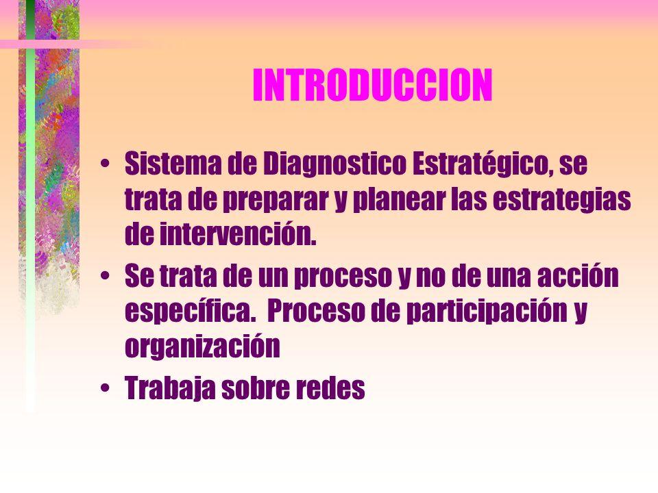 INTRODUCCION Sistema de Diagnostico Estratégico, se trata de preparar y planear las estrategias de intervención. Se trata de un proceso y no de una ac