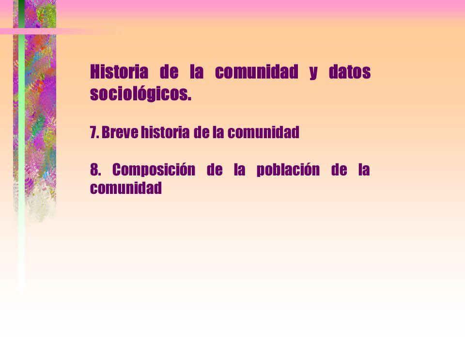 Historia de la comunidad y datos sociológicos. 7. Breve historia de la comunidad 8. Composición de la población de la comunidad