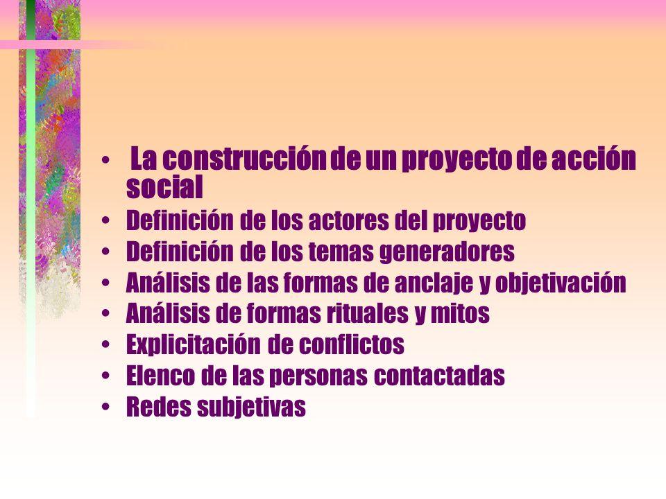 La construcción de un proyecto de acción social Definición de los actores del proyecto Definición de los temas generadores Análisis de las formas de a