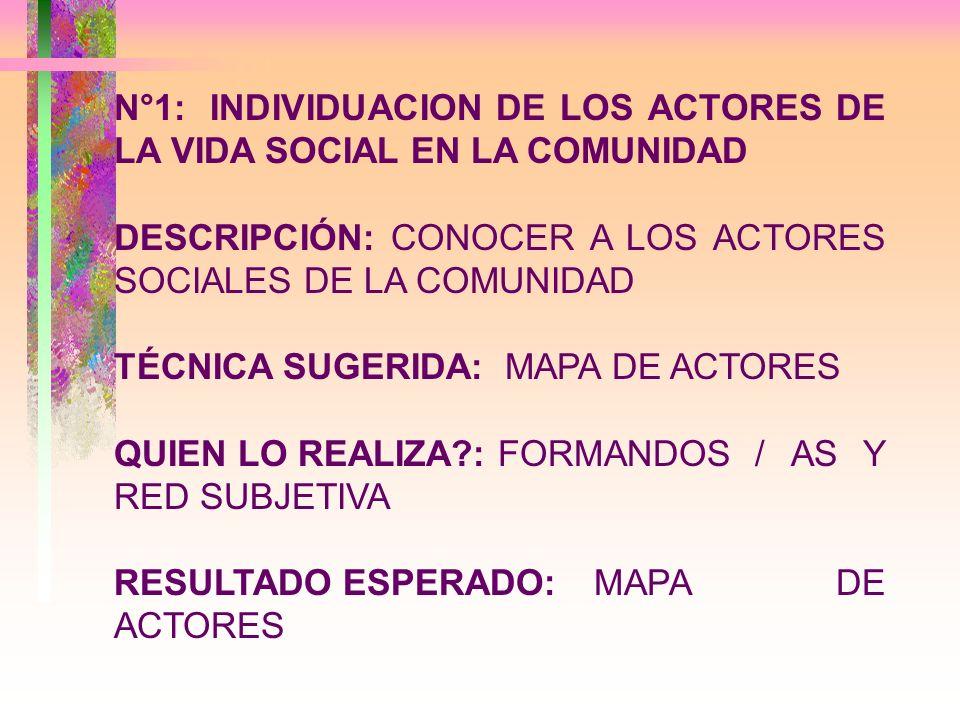 N°1:INDIVIDUACION DE LOS ACTORES DE LA VIDA SOCIAL EN LA COMUNIDAD DESCRIPCIÓN: CONOCER A LOS ACTORES SOCIALES DE LA COMUNIDAD TÉCNICA SUGERIDA: MAPA