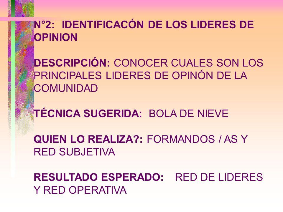 N°3:REPRESENTACION DE LA COMUNIDAD LOCAL DESCRIPCIÓN: CONOCER CUALES SON LOS PRINCIPALES PROBLEMAS QUE TIENE LA COMUNIDAD TÉCNICA SUGERIDA: ENCUESTA QUIEN LO REALIZA?:RED OPERATIVA RESULTADO ESPERADO:ARBOL DE PROBLEMAS O TABLA CON LOS PRINCIPALES PROBLEMAS