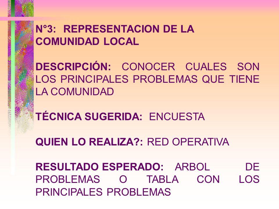 N°4:EXPLICITACION DE LA ACCION SOCIAL EN ACTO DESCRIPCIÓN: CONOCER CUALES SON LAS ACCIONES SE REALIZAN EN LA COMUNIDAD TÉCNICA SUGERIDA: ENCUESTA QUIEN LO REALIZA?:RED OPERATIVA RESULTADO ESPERADO:LISTADO DE ORGANZIACIONES SOCIALES Y ACCIONES DESARROLLADAS