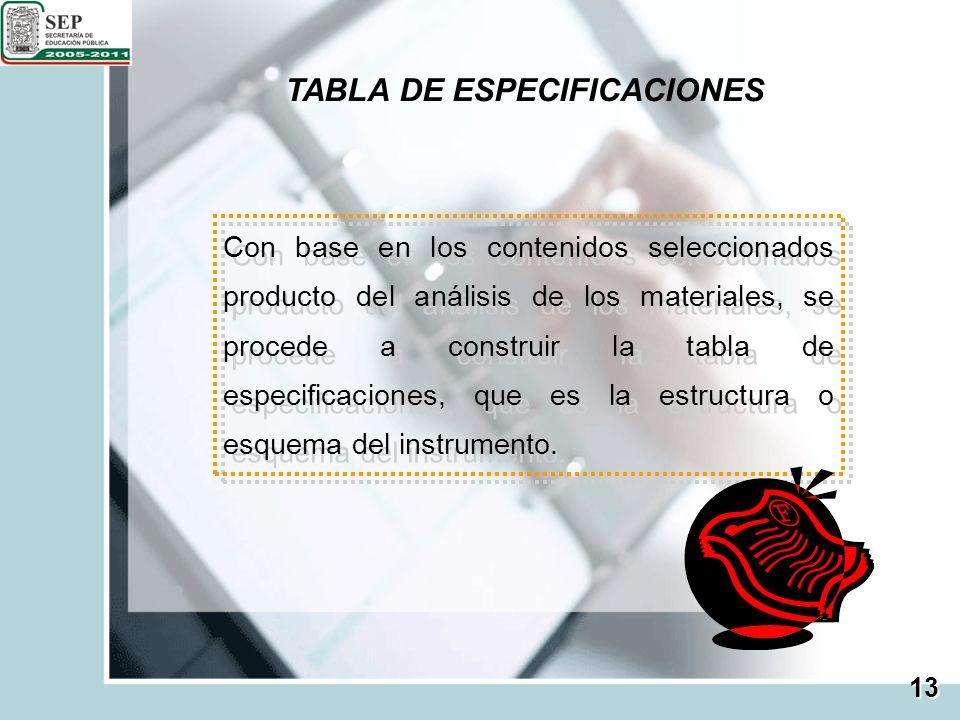 TABLA DE ESPECIFICACIONES Con base en los contenidos seleccionados producto del análisis de los materiales, se procede a construir la tabla de especif