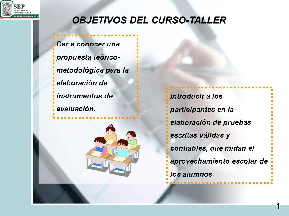 OBJETIVOS DEL CURSO-TALLER Dar a conocer una propuesta teórico- metodológica para la elaboración de instrumentos de evaluación. Introducir a los parti