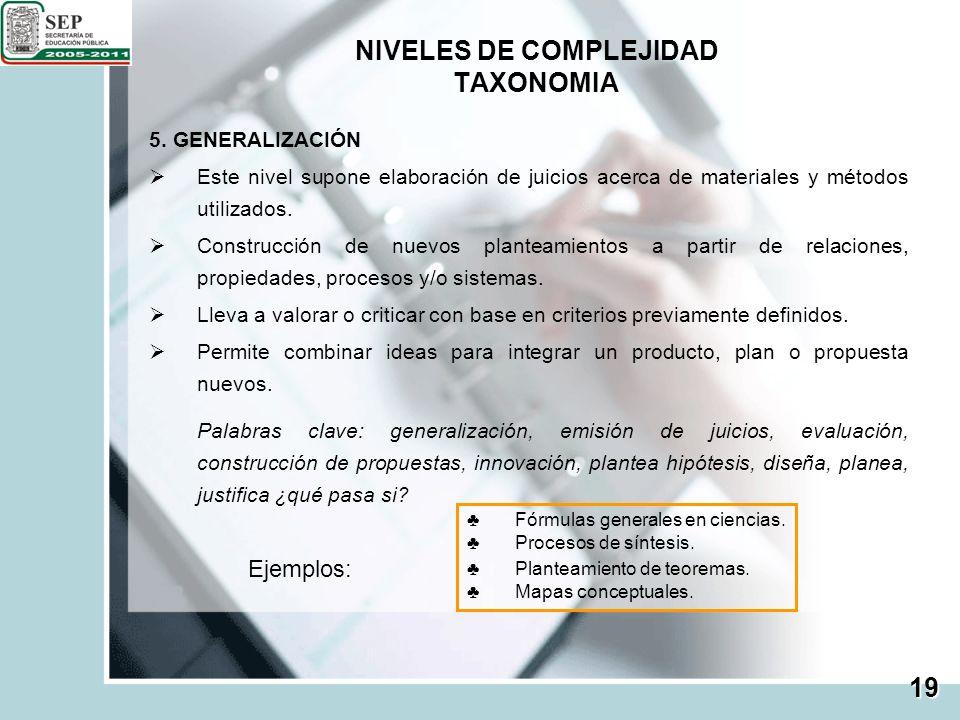 NIVELES DE COMPLEJIDAD TAXONOMIA 19 5. GENERALIZACIÓN Este nivel supone elaboración de juicios acerca de materiales y métodos utilizados. Construcción