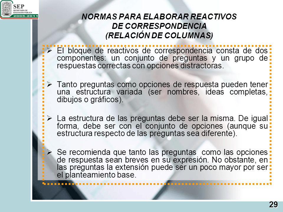 NORMAS PARA ELABORAR REACTIVOS DE CORRESPONDENCIA (RELACIÓN DE COLUMNAS) El bloque de reactivos de correspondencia consta de dos componentes: un conju