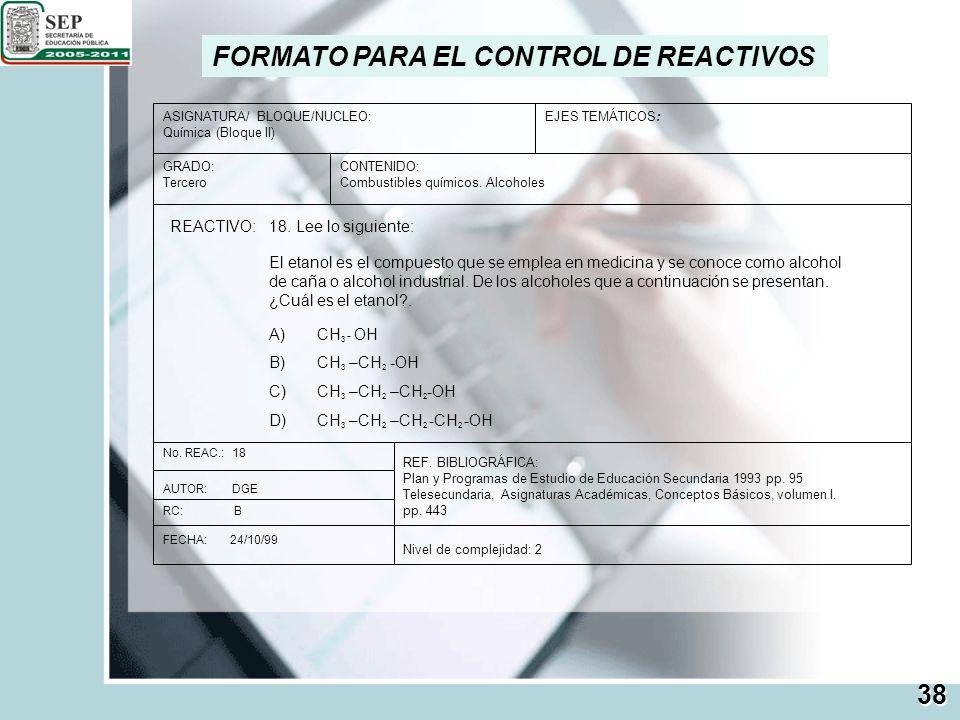FORMATO PARA EL CONTROL DE REACTIVOS ASIGNATURA/ BLOQUE/NUCLEO: Química (Bloque II) GRADO: Tercero EJES TEMÁTICOS: CONTENIDO: Combustibles químicos. A