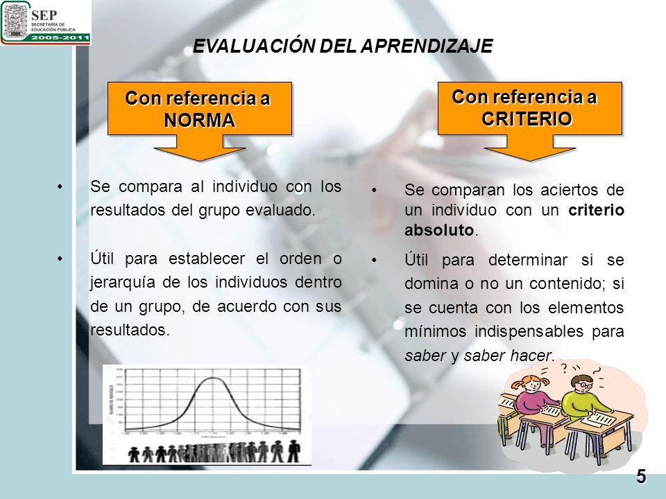 EVALUACIÓN DEL APRENDIZAJE 5 Con referencia a NORMA CRITERIO Se compara al individuo con los resultados del grupo evaluado. Útil para establecer el or