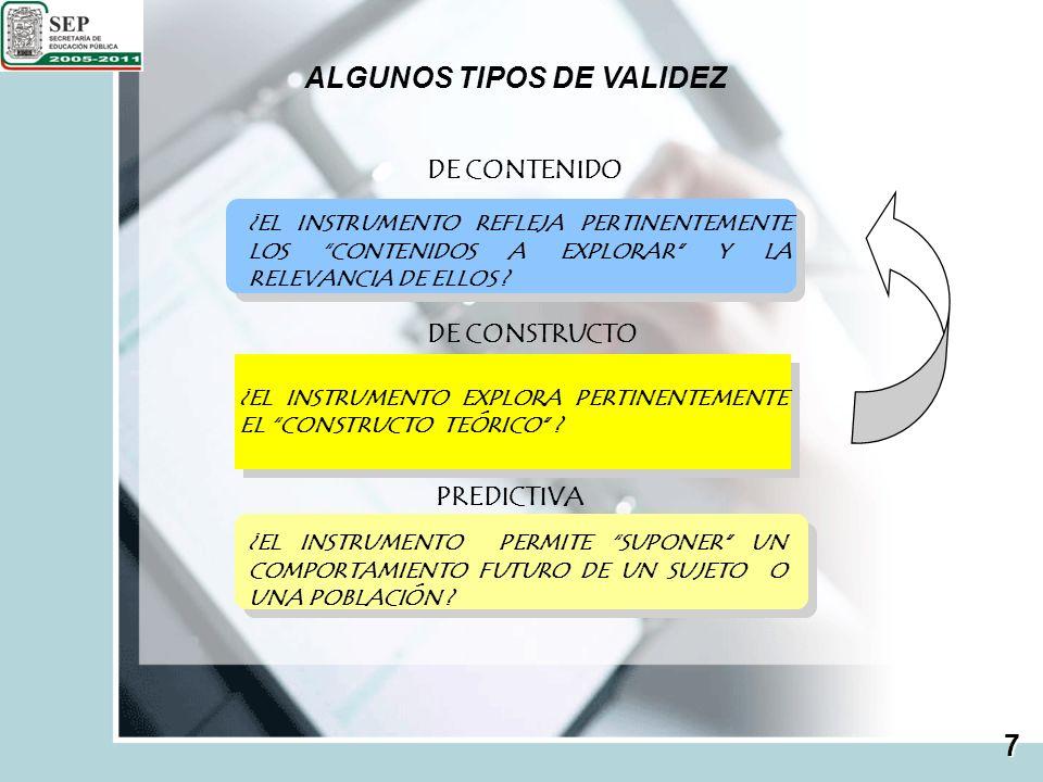 PROCESO DE ELABORACIÓN DE INSTRUMENTOS ANALIZAR MATERIALES RELACIONAR Y SELECCIONAR CONTENIDOS ELABORAR TABLA DE ESPECIFICACIONES DISCUTIR REACTIVOS CONSTRUIR REACTIVOS APRUEBAR REACTIVOS NO ENSAMBLAR INTEGRAR EL INSTRUMENTO SÍ 8