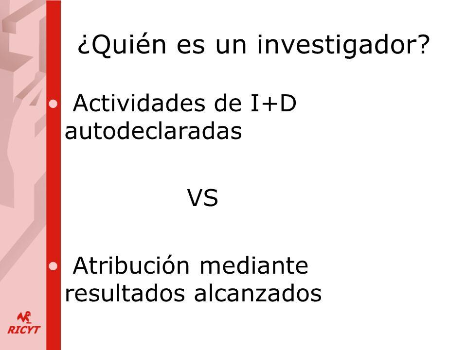 ¿Quién es un investigador? Actividades de I+D autodeclaradas VS Atribución mediante resultados alcanzados