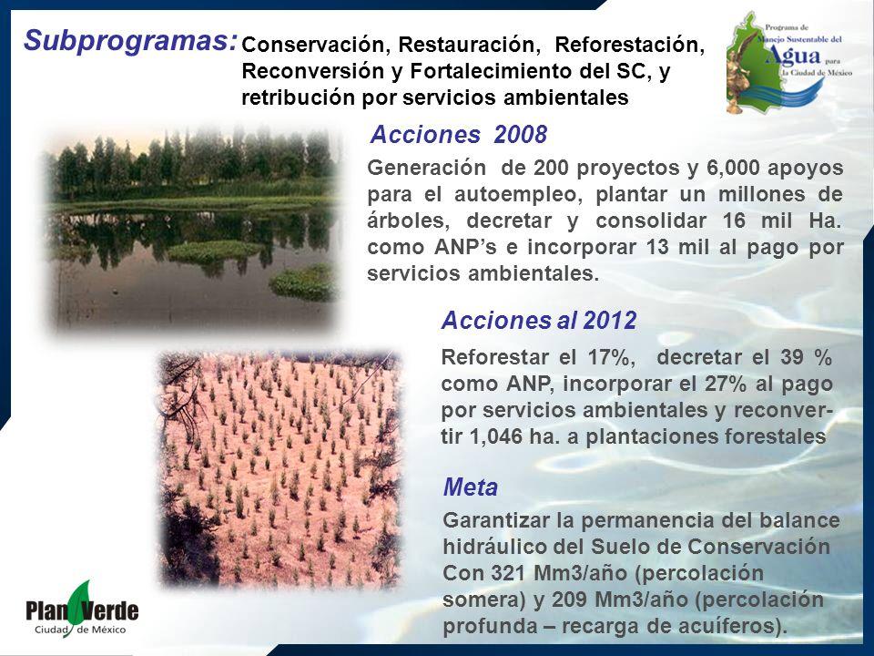 Conservación, Restauración, Reforestación, Reconversión y Fortalecimiento del SC, y retribución por servicios ambientales Generación de 200 proyectos y 6,000 apoyos para el autoempleo, plantar un millones de árboles, decretar y consolidar 16 mil Ha.