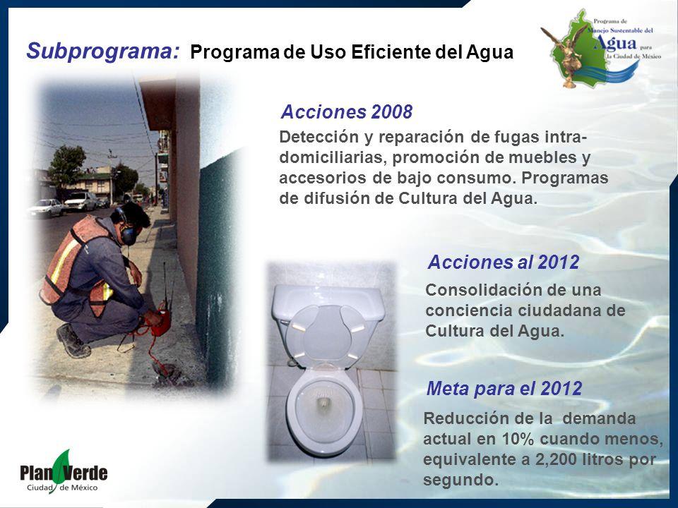 Detección y reparación de fugas intra- domiciliarias, promoción de muebles y accesorios de bajo consumo. Programas de difusión de Cultura del Agua. Co
